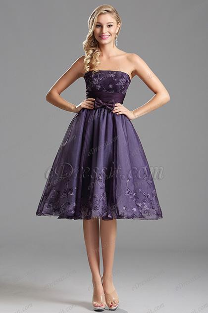 Фиолетовое Коктейльное Платье с Бантом (X04135106)