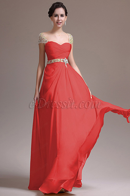 Beaded Cap Sleeves Red Prom Dress Evening Dress (H00137214)