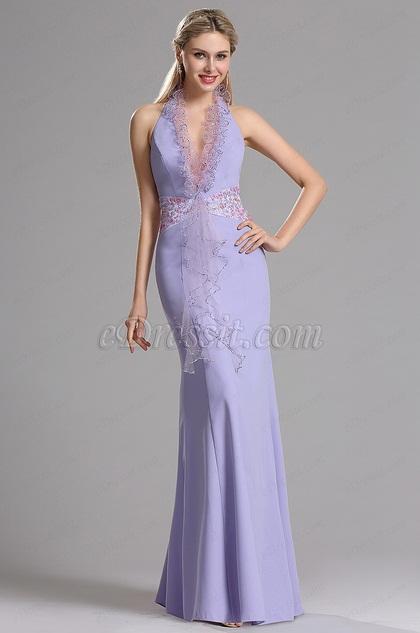 eDressit Фиолетовое Вечернее Платье Декольте Через Шею (00030606)