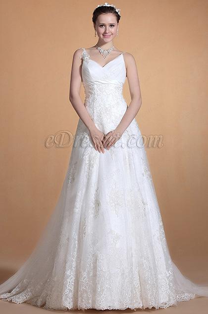 Elegent V-cut Spaghetti Straps Wedding Gown Bridal Dress (C37141107)