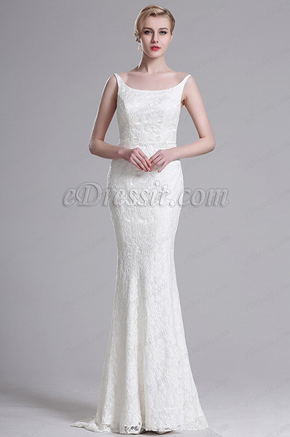 eDressit White Straped Mermaid Wedding Gown Bridal Dress (X00163407)