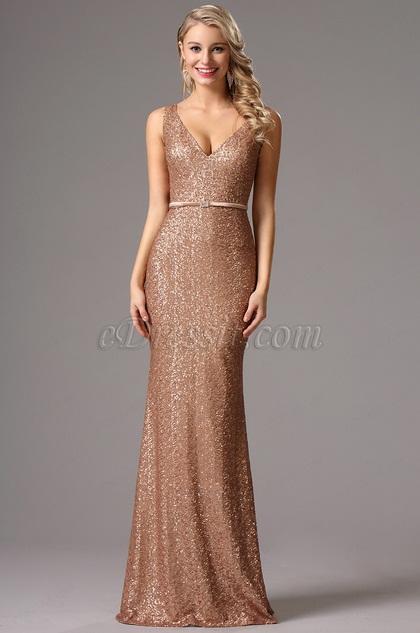 Sleeveless Plunging Neck Sequin Formal Dress Evening Dress (00161720)