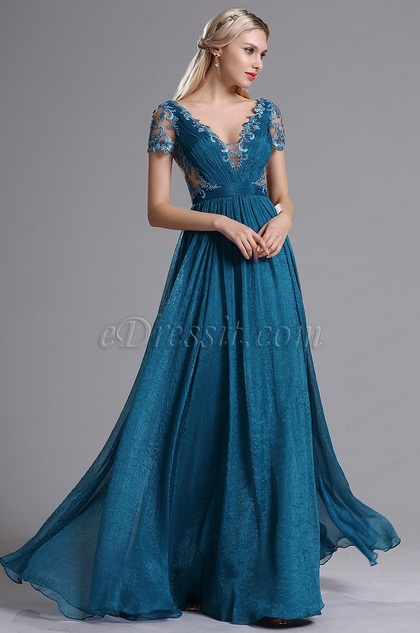 eDressit Blue Plunging V Neck Illusion Back Evening Dress (00164505)