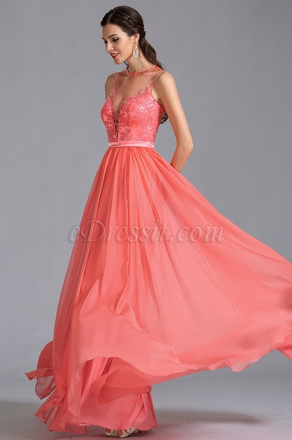 Sleeveless Coral Evening Dress Prom Dress