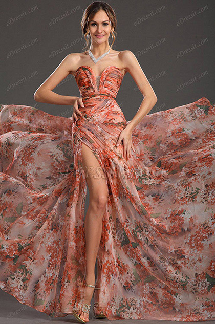 Printed Sweetheart Neck Evening Dress Floral Dress (H00120568)