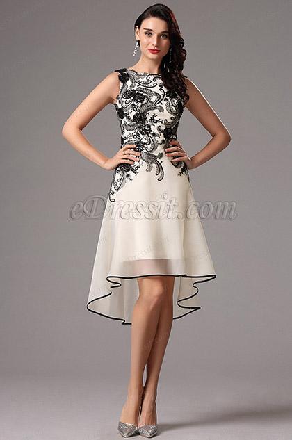 Коктейльное Платье с Чёрными Кружевами  Несиметричной Юбкой (04160800)