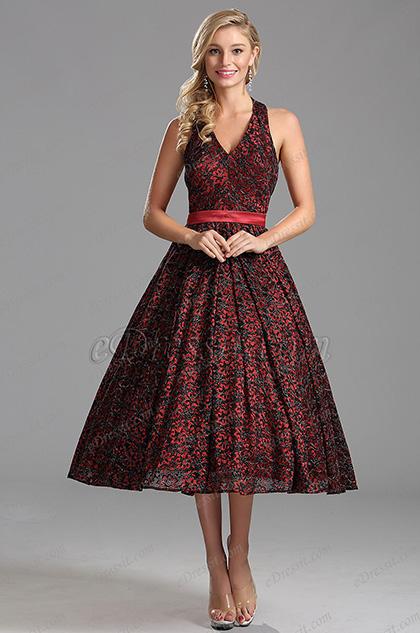 Милое Tea Length Коктейльное Платье Без Рукава (X04161217)
