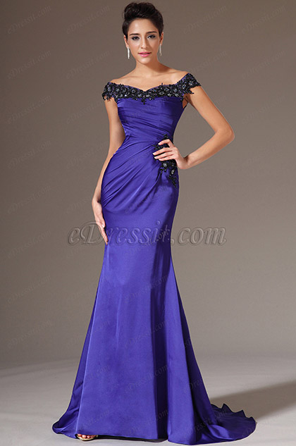 Off-Shoulder Purple Evening Gown Prom Dress (H02143605)