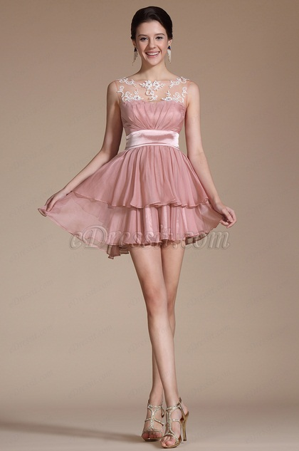 2014 New Pink Sleeveless Sheer Top Cocktail Dress(C04140701)