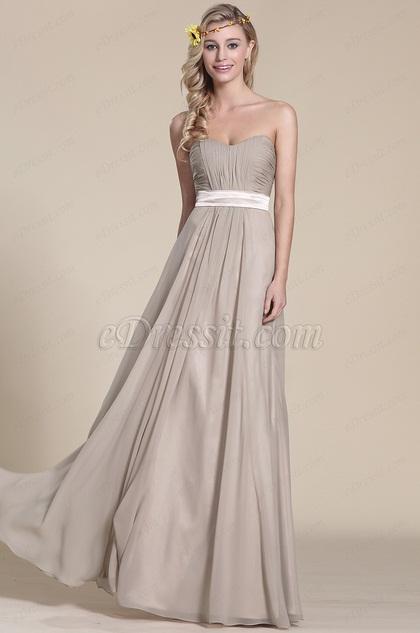 Vestido Gris de Dama Plisado Pecho Sin Tirante (07154008)