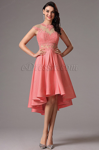 Lace Cap Sleeves Coral Short Cocktail Dress (04160757)