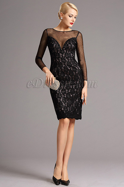 Black Lace Long Sleeves Short Cocktail Dress (26160400)