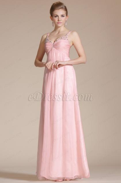 Pink Double Straps Empire Evening Dress(C36140601)