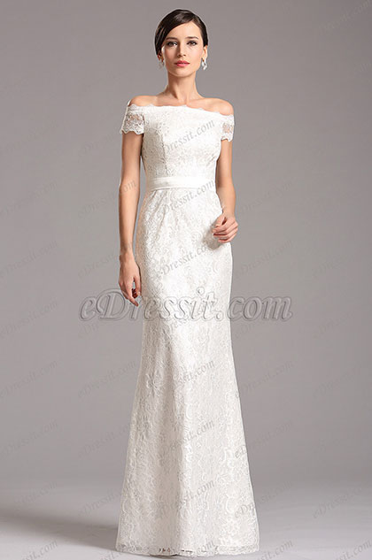 White lace evening dresses