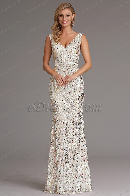 36221e29cf0 Sexy Plunging Neckline White Sequin Formal Dress Prom Gown ...
