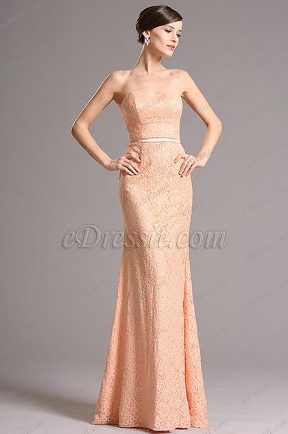 Strapless Sweetheart Overlace Orange Bridesmaid Dress Evening Dress (07153010)