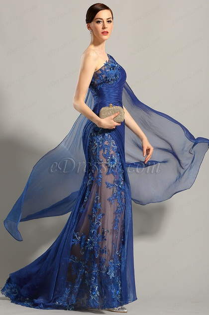 Edressit One Shoulder Embroidered Blue Evening Gown Prom