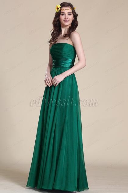 Robe de soir e demoiselle d 39 honneur longue bustier verte for Robes de demoiselle d honneur aqua pour mariage sur la plage