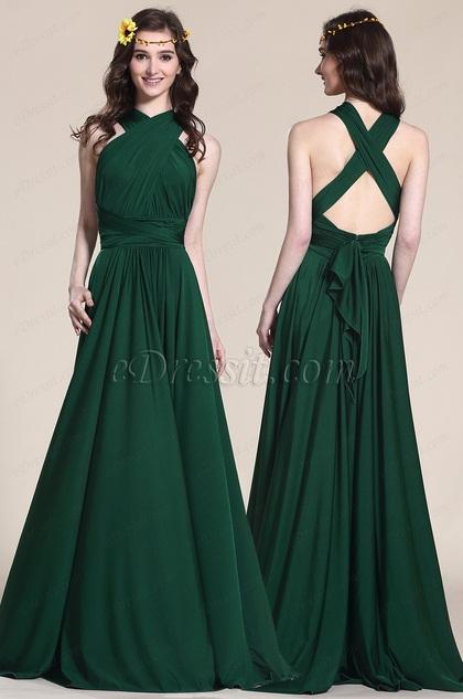 Convertible Dark Green Bridesmaid Dress Evening Gown
