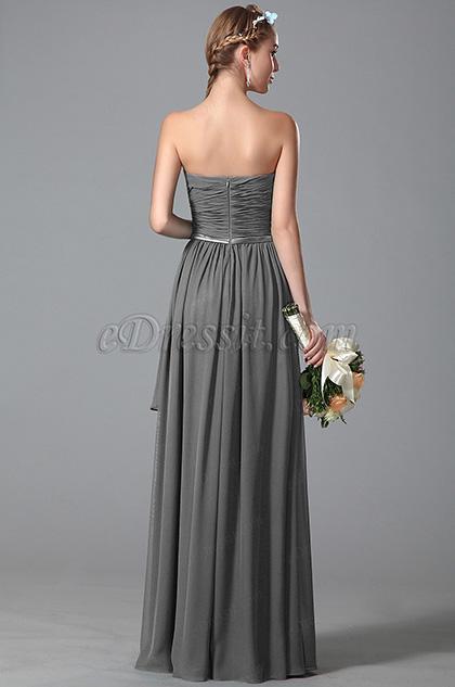 Robe demoiselle d 39 honneur longue bustier coupe simple gris - Coupe demoiselle d honneur ...
