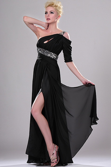 One Shoulder Black Evening Dress Formal Dress (H00114200 )