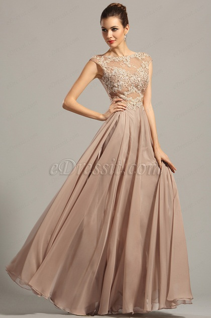 Capped Sleeves Embellished Bodice Prom Dress Evening Gown