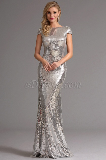 Amazing Silver Sequin Formal Evening Dress Formal Gown (X07160326)