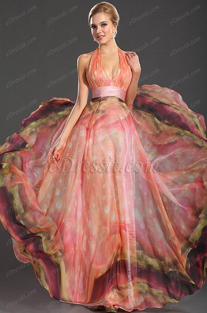 Gorgeous Printed Halter V-neckline Evening Dress (H00091801)