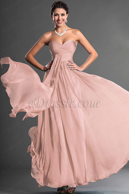 Strapless Sweetheart Pink Evening Dress Prom Dress (H00129005)