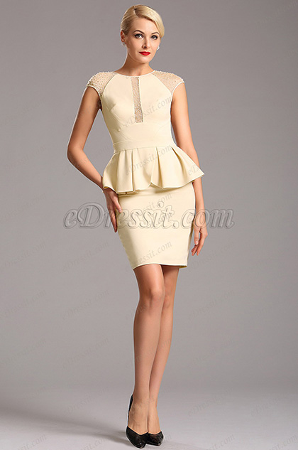 Beaded Capped Sleeves Illusion Short Cocktail Dress (03160314)
