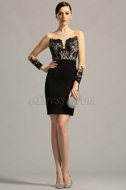 Stylish Long Sleeves Black Day Dress Cocktail Dress (03150800)