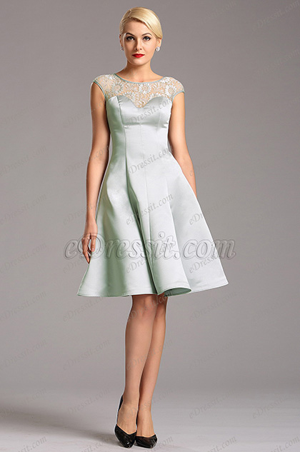 Capped Sleeves Grey Party Dress with Illusion Sweetheart Neck (X04160308)