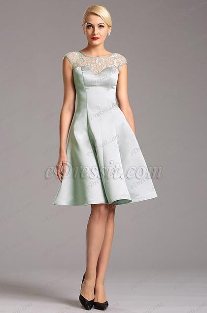 Серое Коктейльное Платье с Празрачным Декольте (X04160308)