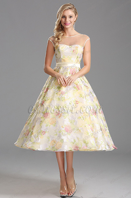 Sheer Capped Sleeved Tea Length Floral Dress Party Dress (X01150147)
