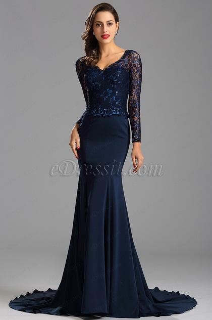 eDressit Illusion Sleeves Lace Bodice Blue Mermaid Prom Evening (26162205)