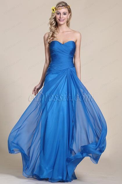 Trägerlos Süßaussschnitt Blau Abendkleid Brautjungfernkleid (07153505)
