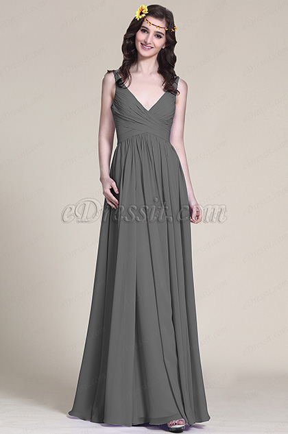 Sleeveless V Neck Grey Bridesmaid Dress Evening Dress (07151608)