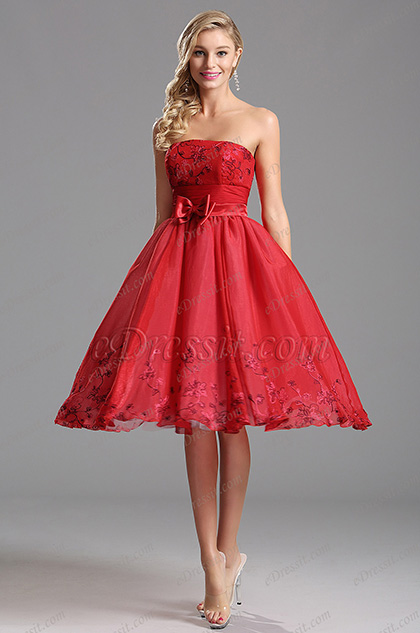 Robe de cocktail sans bretelle satin noeuds papillon rouge (X04135102)