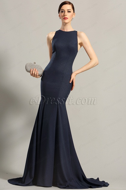 Navy Blue Sleeveless Evening Dress Formal Gown (00155205)
