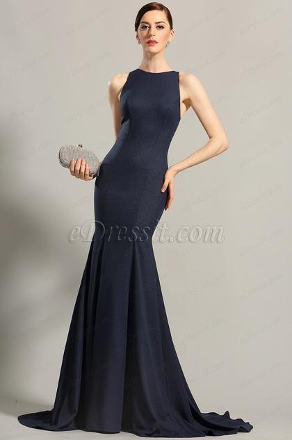 Тёмно Синее Вечернее Платье без Рукава (00155205)
