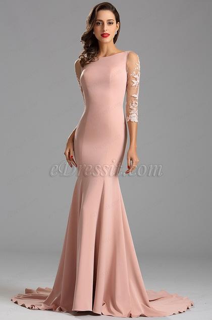 Vestido Noche Largo Elegante Meida Manga Rosado Sirena Corte(26162346)