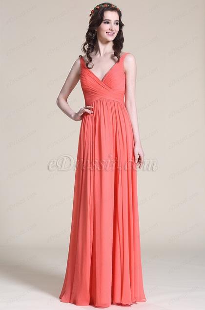 Robe demoiselle d 39 honneur corail sans manche col en v for Robes de demoiselle d honneur aqua pour mariage sur la plage