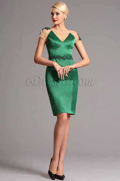 Зелёное Короткое  Вечернее Платье с Вышивками (03160604)