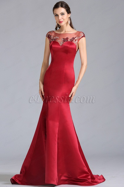 Cap Sleeves Burgundy Embroidered Evening Dress Formal Dress (02154717)