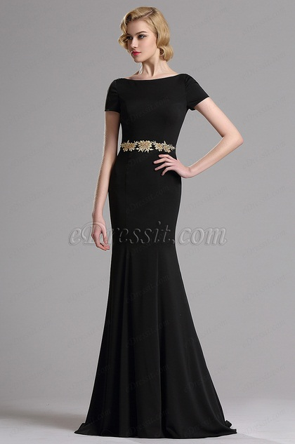 eDressit Short Sleeves Plunging Back Mermaid Prom Dress (02162700)