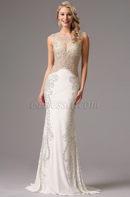 Sleeveless Beaded Illusion Bodice White Formal Gown 36160807