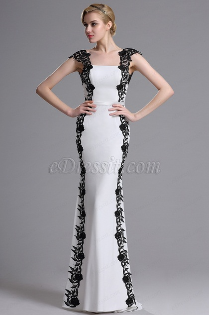 eDressit White Black Floral Applique Prom Evening Dress (02163807)