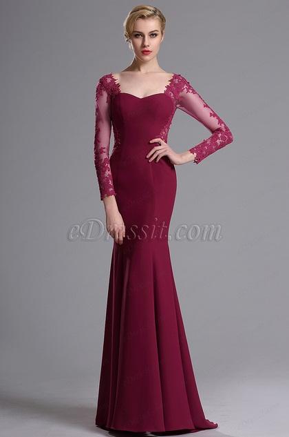 eDressit lange Ärmeln Schatz-Ausschnitt Mermaid  Kleid (02163912)