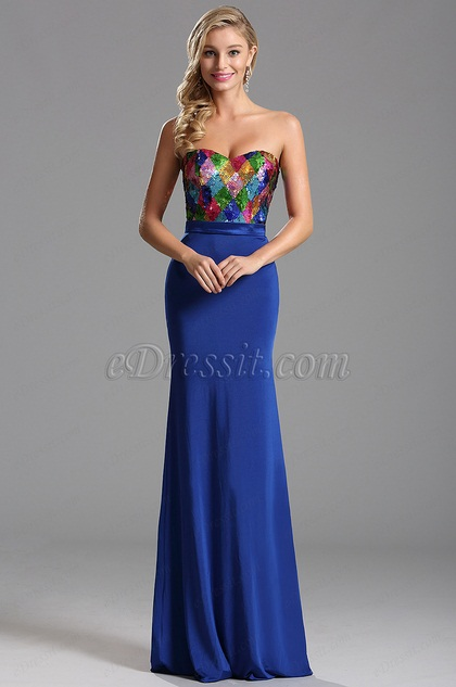 Atemberaubend Pailletten Mieder Königsblau Abendkleid (X07160205)
