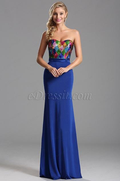 Stunning Sequin Bodice Royal Blue Evening Dress Formal Dress (X07160205)